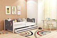 Dětská postel v kombinaci bílé a grafit barvy 80x160 cm F1365