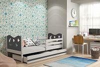Dětská postel v kombinaci bílé a grafit barvy s úložným prostorem a matrací 80x190 cm F1377