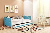 Dětská postel v kombinaci bílé a modré barvy 80x160 cm F1365