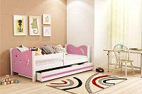 Dětská postel v kombinaci bílé a růžové barvy 80x160 cm F1365