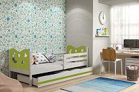 Dětská postel v kombinaci bílé a zelené barvy s úložným prostorem a matrací 80x190 cm F1377