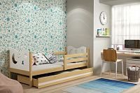 Dětská postel v kombinaci dekoru borovice a bílé barvy s úložným prostorem a matrací 80x190 cm F1377