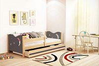 Dětská postel v kombinaci grafit barvy a dekoru borovice 80x160 cm F1365