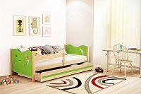 Dětská postel v kombinaci zelené barvy a dekoru borovice 80x160 cm F1365