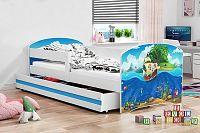 Dětská postel v modré barvě s moderním motivem pirátské lodi 80x160 cm F1227