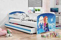 Dětská postel v modré barvě s moderním motivem princezen 80x160 cm F1227