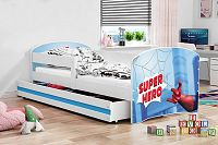 Dětská postel v modré barvě s moderním motivem spider man 80x160 cm F1227