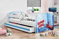Dětská postel v modré barvě s moderním motivem spider man 80x160 F1227