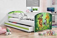 Dětská postel v zelené barvě s moderním motivem zvířat 80x160 cm F1227