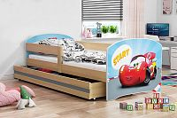 Dětská postel z borovicového dřeva s motivem auta 80x160 cm F1367