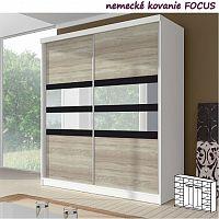 Dvoudveřová skříň, 233x218, s posuvnými dveřmi, bílá/dub sonoma/černé sklo/zrcadlo, MULTI 10