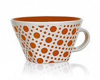 Hrnek jumbo keramický square 500 ml, oranžový s puntíky