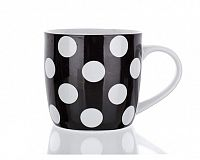 Hrnek keramický černý s puntíky 310 ml