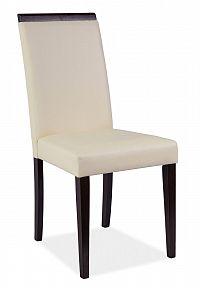 Jídelní čalouněná židle v krémové barvě a dekoru wenge KN273