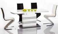 Jídelní rozkládací stůl 180x90 cm v bílém lesku KN609