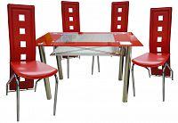 Jídelní sestava z lesklého chromu v červené barvě F1271