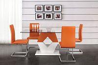 Jídelní stůl obdélníkový MDF bílá oranžová skleněný povrch 160x90x76cm VALY