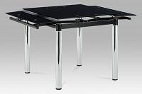 Jídelní stůl rozkládací 80+48x80, černé sklo / chrom AT-1880 BK