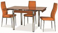 Jídelní stůl rozkládací tvrzené sklo oranžové KN022
