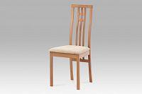 Jídelní židle dřevěná dekor buk a potah krémová látka BC-2482 BUK3