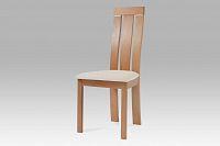 Jídelní židle dřevěná dekor buk a potah krémová látka BC-3931 BUK3