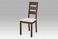 Jídelní židle dřevěná dekor ořech a potah béžová látka BC-2603 WAL AKCE