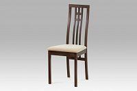 Jídelní židle dřevěná dekor ořech a potah krémová látka BC-2482 WAL