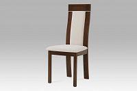 Jídelní židle dřevěná dekor ořech a potah krémová látka BC-3921 WAL