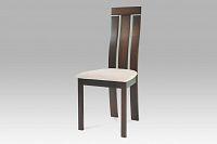 Jídelní židle dřevěná dekor ořech a potah krémová látka BC-3931 WAL