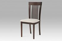 Jídelní židle dřevěná dekor ořech a potah krémová látka BC-3940 WAL AKCE