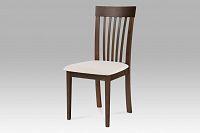 Jídelní židle dřevěná dekor ořech a potah krémová látka BC-3950 WAL