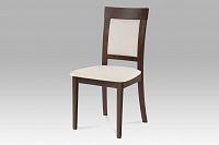 Jídelní židle dřevěná dekor ořech a potah krémová látka BC-3960 WAL