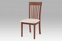Jídelní židle dřevěná dekor třešeň a potah krémová látka BC-3950 TR3