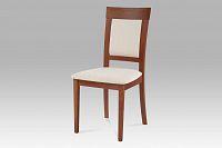 Jídelní židle dřevěná dekor třešeň a potah krémová látka BC-3960 TR3