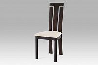 Jídelní židle dřevěná dekor wenge a potah krémová látka BC-3931 BK