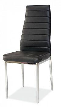 Jídelní židle na kovové konstrukci v černé ekokůži KN165