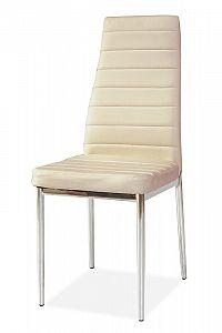 Jídelní židle na kovové konstrukci v krémové ekokůži KN165