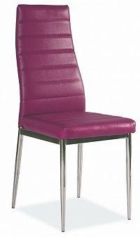 Jídelní židle na kovové konstrukci ve fialové ekokůži KN165