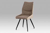 Jídelní židle očalouněná koženkou a látkou v barvě cappuccino DCH-351 CAP2