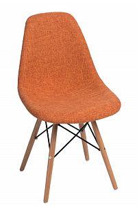 Jídelní židle s čalouněním v oranžové barvě s dřevěnou podnoží DO281