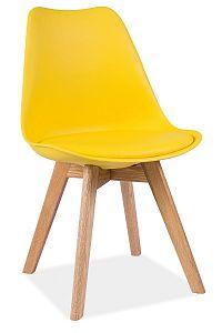 Jídelní židle v moderním retro stylu ve žluté barvě typ 1 KN361