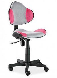 Kancelářská otáčecí židle v šedé a růžové barvě KN045