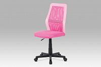 Kancelářská židle růžová v kombinaci látky MESH a ekokůže KA-V101 PINK  AKCE