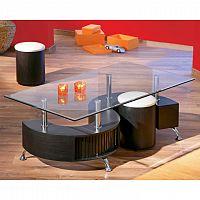 Konferenční stolek s 2 taburetkami v moderním designu ořech OTELO
