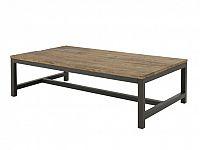Konferenční stolek s dřevěnou deskou 120x60 cm s černou kovovou podnoží DO204