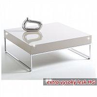 Konferenční stolek v luxusním provedení bílá ve vysokém lesku BOTTI