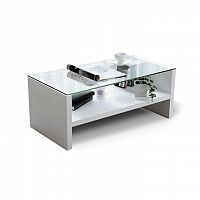 Konferenční stolek v luxusním provedení extra vysokého lesku bílá TIBER
