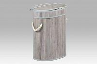 Koš na prádlo bambusový šedobílý oválný malý KD4403
