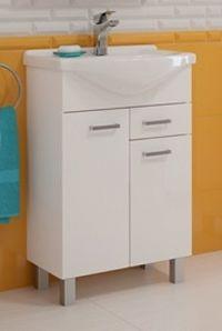 Koupelnová skříňka s umyvadlem 2D1S v bílém provedení 62 cm F1297