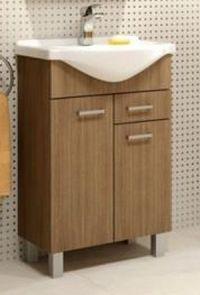 Koupelnová skříňka s umyvadlem 2D1S v dekoru dub rijeka 46 cm F1297